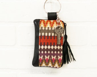 recycled black leather keychain, print, wallet, coin purse, key ring, key pouch, tassel, card holder, handmade, upcycled, stacylynnc