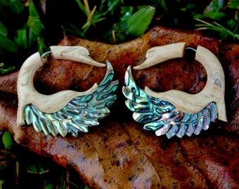 Fake Gauge Earrings ,Tamarind Wood, Paua Abalone shell, ,hand carved,organic earrings