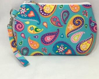 Colorful Paisleys ~ Kendall Wristlet