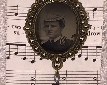 Victorian Gem Tin Type Photo Brooch Pin with Edwardian Black Glass Drop