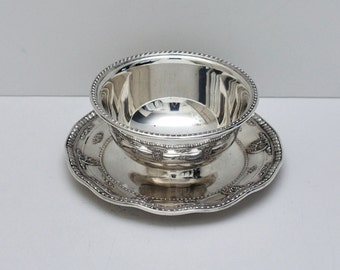 Vintage Sterling Silver Wallace Rose Point 4956 Gravy Bowl