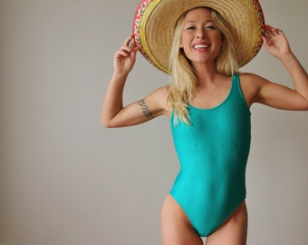 ON RESERVE >>>> 1980s Teal Ribbed Swimsuit >> Size Extra Small to Small