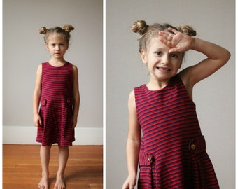 1960s Navy & Red Stripe Dress~Size 4t/5t