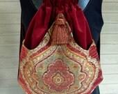 Backpack Medallion Tapestry Boho Backpacks tapestry sling bag rust velvet tassel  cinch bag tapestry book bag