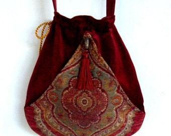Boho Tassel Bag Brick Red Pocket Boho Bag Tapestry  Drawstring Bag   Bohemian Bag  Crossbody Purse
