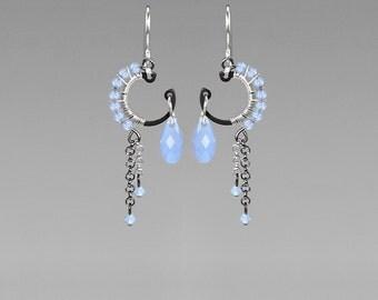 Blue Swarovski Crystal Earrings, Air Blue Opal Swarovski, Industrial Jewelry, Wire Wrapped Earrings, Bridal Jewelry, Quark II v5