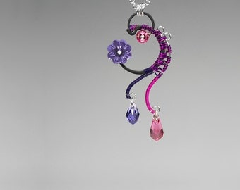 Swarovski Crystal Pendant, Purple Swarovski, Pink Swarovski, Industrial Jewelry, Space Jewelry, Swarovski Necklace, Alpha Centauri v5
