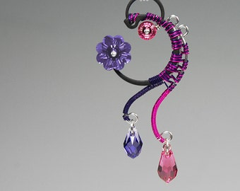 Alpha Centauri v5: Feminine industrial pink and purple Swarovski crystal wire wrapped Pendant