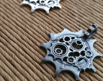 Sterling silver chainring pendant. Cyclist chainring. Motorcyclist chainring. Sprocket pendant. Gear pendant.