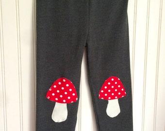 Toadstool Leggings. Cute Leggings for Girls. Woodland Leggings. Toddler Girl Leggings. Knee Patch leggings. Mushroom Leggings. Gray Leggings