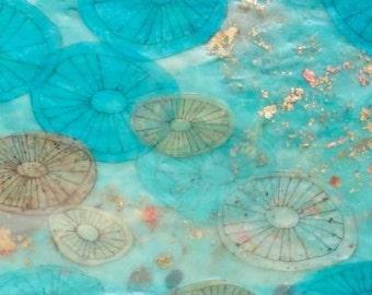 Encaustic Painting, encaustic art, abstract jellyfish painting, aqua blue water painting, wall art