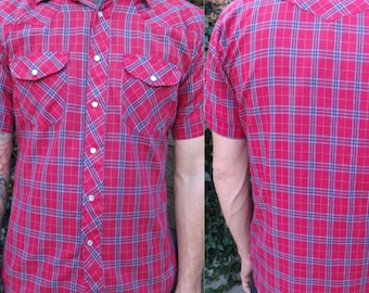 Mens Red Plaid Shirt, Vintage Snap Down Western Plaid Shirt, 70's Vintage