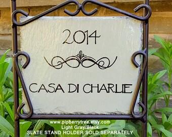 Fleur De Lis Scroll Art Personalized Address Hand Painted Decorative Slate Sign/Fleur De Lis Scroll Art Slate Sign/Address Slate Sign