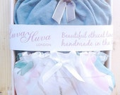 SALE 2 Panties Gift Box, Seagreen Panty & Floral Chiffon Panty / Sexy Organic Lingerie / Sheer underwear / ethical clothing / pajama / mater