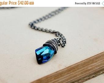 ON SALE Blue Crystal Necklace, Crystal Necklace, Swarovski Crystal, Caribbean Blue, Sterling Silver, Crystal jewelry, PoleStar, Blue