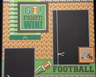 Football Scrapbook Layout, Premade Football Album Page, Football, 12x12 Single Scrapbook Page