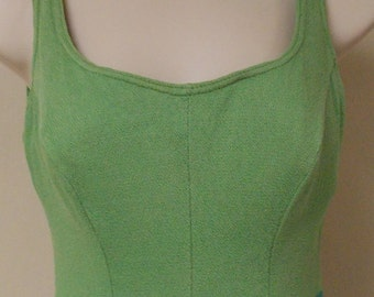Vintage Cole of California Original one piece swimsuit greens solid/stripe small