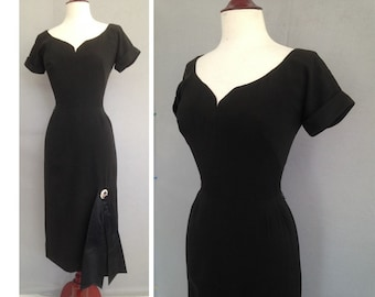 HOLD for Virginia, Cocktail 50s Dress / Couture Black Silk Vintage 1950s Dress / Mad Men / VLV / Halloween / Black Widow Pin Up Party Dress