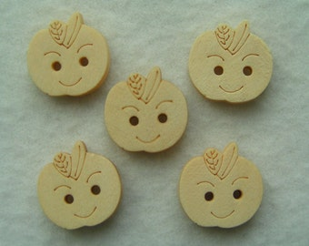 Wooden Buttons Apple faces 18mm diameter x 5 wood round button