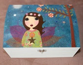 Star Fairy Large Jewelry Box, Wooden Fairytale Jewellery Box, Trinket Box