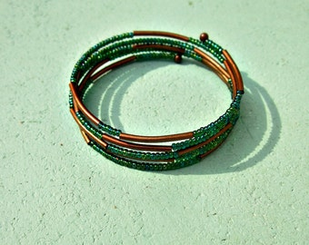 Beaded Bracelet, Fitted Cuff with Green Glass and Rustic Copper: Traveler