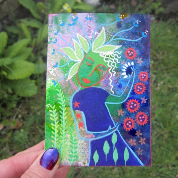Forest Dance, original mixed media painting 3.5 x 5ins. flowers, sparkles, wall art
