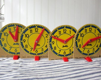 4 vintage toy clock teaching clock learn to tell time Judy Instructo mini-clocks Classroom Home School