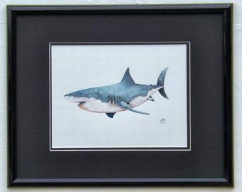 Great White Shark original acrylic painting