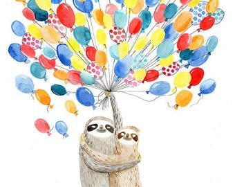 Sloths and balloons A3 print