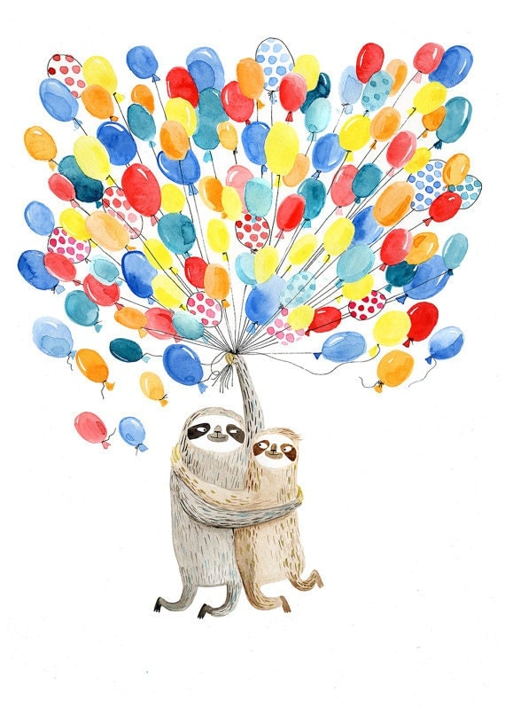 Sloths and balloons A3 print