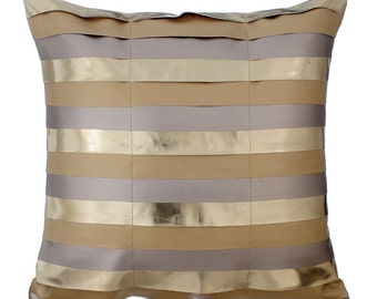 Gold Decorative Throw Pillow Covers Accent Pillow Couch Sofa Leather Pillow Case 16x16 Gold Faux Leather Pillow Cover