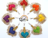 Plush Felt Love Heart Keychain - A special handmade felt tassle keyring or bag charm with gold fringe, positive word in a rainbow of colours