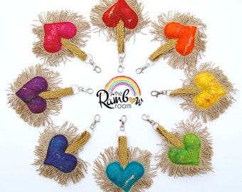 Plush Felt Love Heart Keychain - A special handmade felt tassle keyring or bag charm with gold fringe, positive word in a rainbow of colours