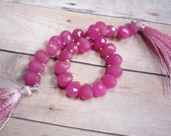 OUT Of Town SALE Deep Rose Pink Chalcedony Briolette Beads,  Fat Bulb , 8mm x 10mm Briolettes, QTY26