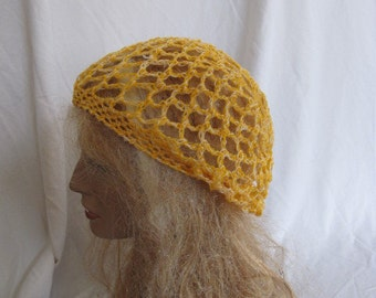 SALE - Vibrant Yellow and Cream Lacey Slouchy Beret/Tam/Dreadlock Hat (5263)
