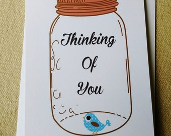 Mason Jar Thinking of You Cards, Rustic Farm Cards, Set of 10