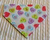Dog Bandana with Candy Hearts Sizes XS to XL in Dog Collar Style