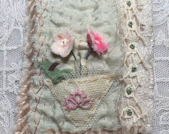 textile brooch, fiber art brooch, hand embroidery, vase vintage millinery flowers, tatting,  original, ooak
