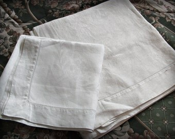 2 Tablecloths White Damask Linen Tea &  Luncheon size, pansy,  flower patterns,