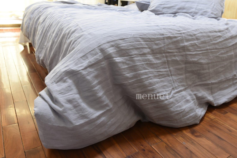 3 Pcs Set Stone Washed Flax Linen Bedding Duvet Cover Quilt