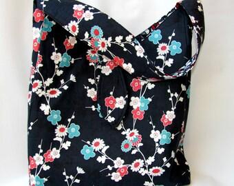 Shoulder Bag, Diaper Bag, Large Bag, Every Day Bag ,Womens Work Bag, Tote Bag, Large Tote Bag Sakura Blossom, Ready to Ship