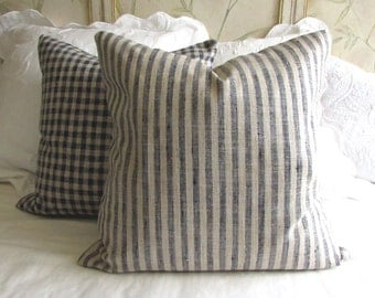 Very French Lakeland blue Stripe pillow cover  20x20