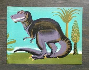 Mid Century Dinosaur Print Vintage Children's Book Page T-Rex Illustration Dahlov Ipcar