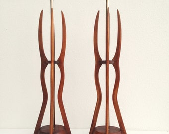 Pair of Mid Century Sculpted Wood Table Lamps Modeline