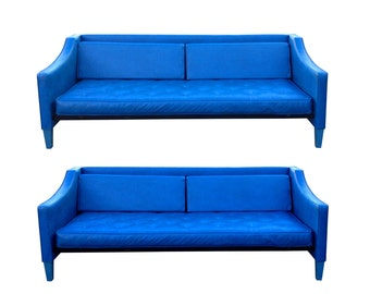 Summer Sale Vintage Mod Bright Blue Mid Century Modern Sofas 2 Available Panton