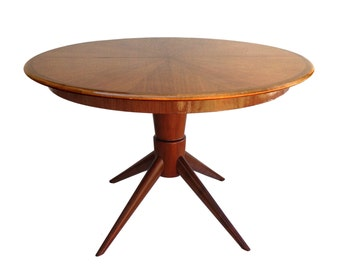 Summer Sale Mid Century Modern David Rosen Inlayed Wood Dining Table with Sputnik Legs