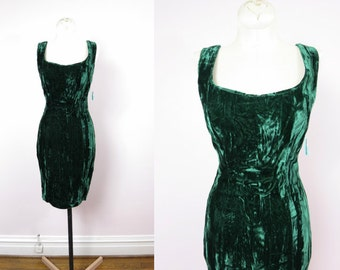 1980s Emerald Velvet Mini Tank Dress XS/S Deadstock
