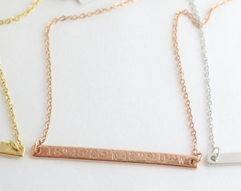 Long Bar Necklace - Coordinates Necklace - Silver Necklace -  Rose Gold Necklace - Gold Necklace - Address Necklace - Personalized Necklace