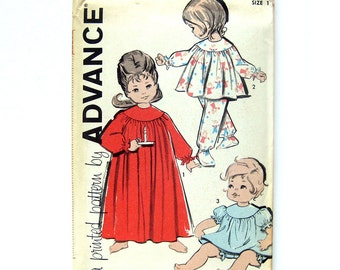 60s Toddler Pajamas Pattern / Nightgown / Baby Doll with Bloomers / UNCUT Vintage Sewing Pattern / Advance 9941 / Size 1/2 or Size 2