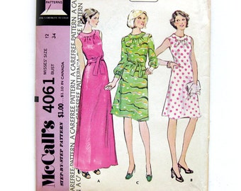 1970s Vintage Sewing Pattern - Maxi Length Dress Sleeveless Dress with Gathered Neckline Dress / Size 12 UNCUT FF